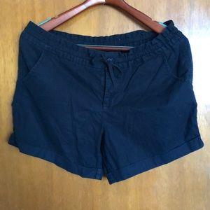 Black drawstring cargo shorts